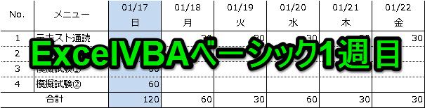 ExcelVBAベーシック1週目
