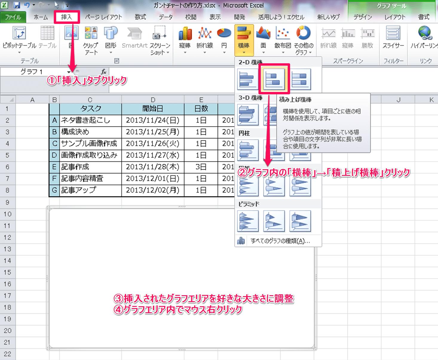 ガントチャート作成方法③
