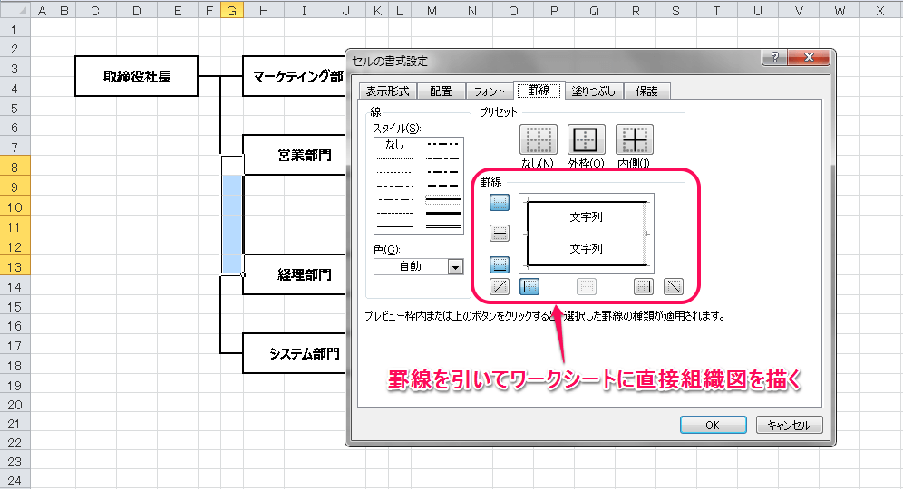 Excelで組織図を作成する方法②