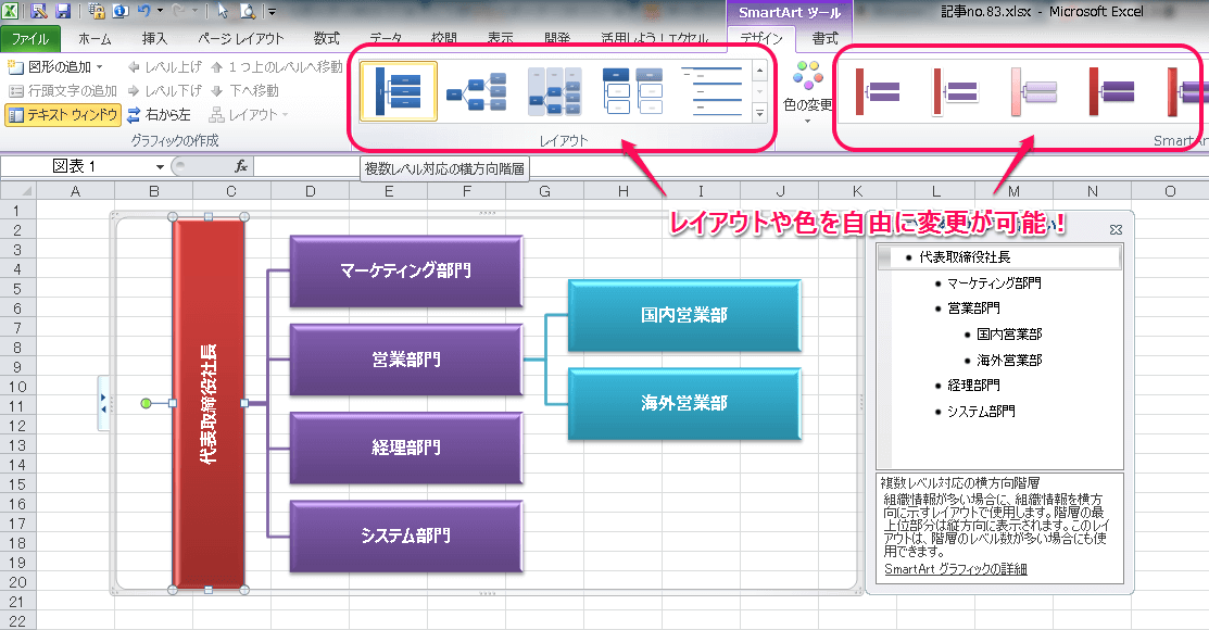 Excelで組織図を作成する方法⑥