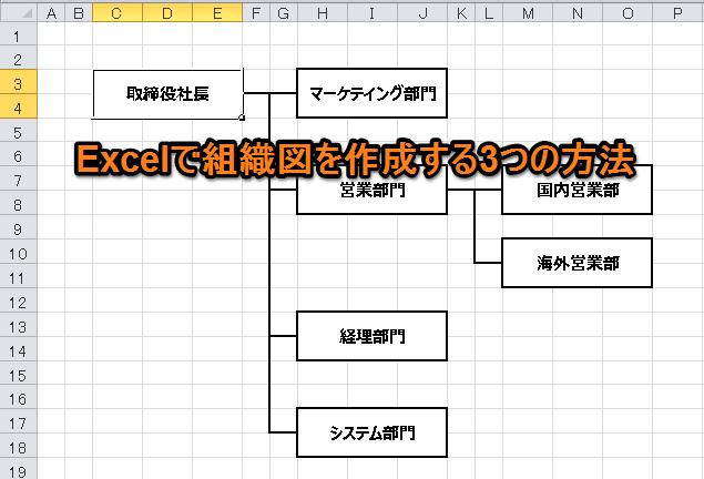 Excelで組織図を作成する3つの方法