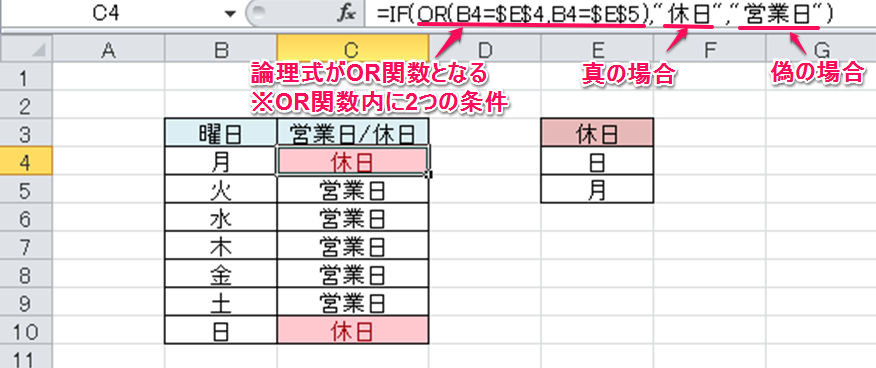 IF関数とOR関数の組み合わせ①