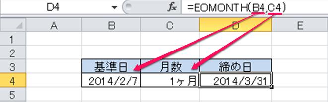 EOMONTH関数②