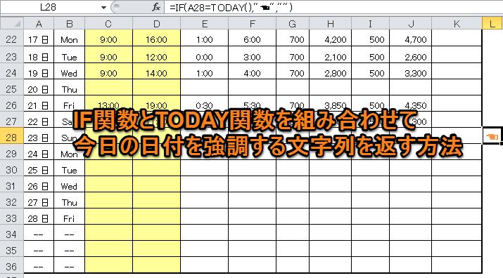 IF関数とTODAY関数を組み合わせて今日の日付を強調する文字列を返す方法