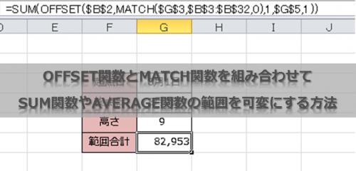 OFFSET関数とMATCH関数を組み合わせてSUM関数やAVERAGE関数の範囲を可変にする方法