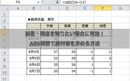誤差・精度を知りたい場合に有効!ABS関数で絶対値を求める方法