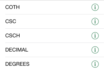 【iphone Ipadアプリ】「microsoft Excel」「数学 三角」で選択できる関数一覧