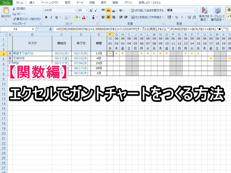 【関数編】エクセルでガントチャートをつくる方法 | Excelを ...