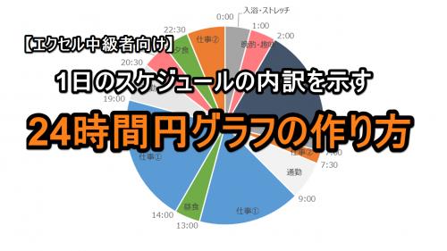 【エクセル中級者向け】1日のスケジュールの内訳を示す24時間円グラフの作り方
